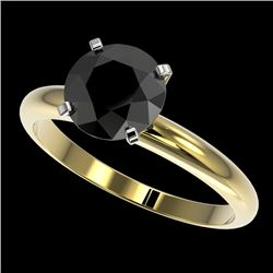 2 CTW Fancy Black VS Diamond Solitaire Engagement Ring 10K Yellow Gold - REF-54F2N - 32937