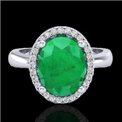 3 CTW Emerald & Micro Pave VS/SI Diamond Ring Halo 18K White Gold - REF-64T9M - 21103