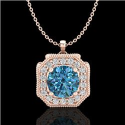 1.54 CTW Fancy Intense Blue Diamond Solitaire Art Deco Necklace 18K Rose Gold - REF-216T4M - 38294