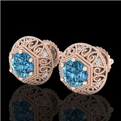 1.31 CTW Fancy Intense Blue Diamond Art Deco Stud Earrings 18K Rose Gold - REF-149T3M - 37559