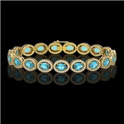 14.82 CTW Swiss Topaz & Diamond Halo Bracelet 10K Yellow Gold - REF-230T4M - 40486