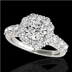 2.25 CTW H-SI/I Certified Diamond Solitaire Halo Ring 10K White Gold - REF-250M9H - 33382
