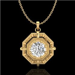 0.75 CTW VS/SI Diamond Art Deco Stud Necklace 18K Yellow Gold - REF-202X5T - 36880