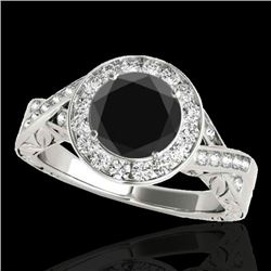 1.75 CTW Certified VS Black Diamond Solitaire Halo Ring 10K White Gold - REF-87T8M - 34525
