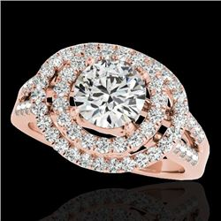 1.75 CTW H-SI/I Certified Diamond Solitaire Halo Ring 10K Rose Gold - REF-200F2N - 34284
