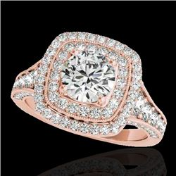 2 CTW H-SI/I Certified Diamond Solitaire Halo Ring 10K Rose Gold - REF-209T3M - 33653