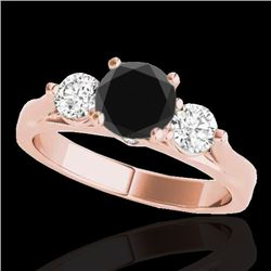 1.5 CTW Certified VS Black Diamond 3 Stone Solitaire Ring 10K Rose Gold - REF-92W2F - 35371