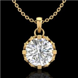 1.14 CTW VS/SI Diamond Art Deco Stud Necklace 18K Yellow Gold - REF-205X5T - 36844