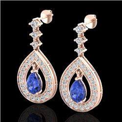 2.25 CTW Tanzanite & Micro Pave VS/SI Diamond Earrings Designer 14K Rose Gold - REF-109H3A - 23158