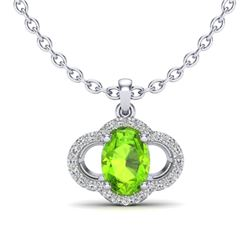 1.75 CTW Peridot & Micro Pave VS/SI Diamond Necklace 10K White Gold - REF-33W5F - 20637