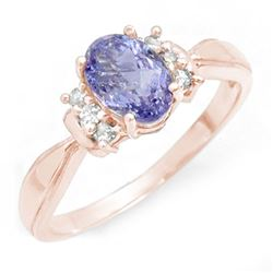 1.06 CTW Tanzanite & Diamond Ring 14K Rose Gold - REF-25M3H - 14405