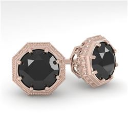2.0 CTW Black Diamond Stud Solitaire Earrings 18K Rose Gold - REF-64T9M - 35978