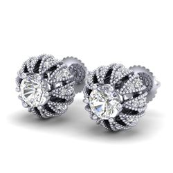 2.01 CTW VS/SI Diamond Art Deco Micro Pave Stud Earrings 18K White Gold - REF-272W8F - 36995