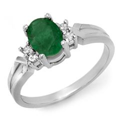 0.87 CTW Emerald & Diamond Ring 10K White Gold - REF-19K3W - 12524