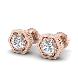 1.07 CTW VS/SI Diamond Solitaire Art Deco Stud Earrings 18K Rose Gold - REF-190H9A - 36900