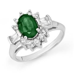 1.74 CTW Emerald & Diamond Ring 18K White Gold - REF-72K2W - 13251