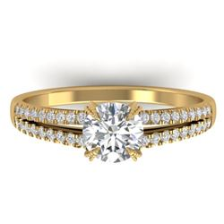 1.11 CTW Certified VS/SI Diamond Solitaire Art Deco Ring 14K Yellow Gold - REF-182A9X - 30305
