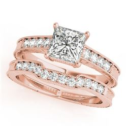 0.86 CTW Certified VS/SI Princess Diamond Solitaire 2Pc Set Antique 14K Rose Gold - REF-153H8A - 314