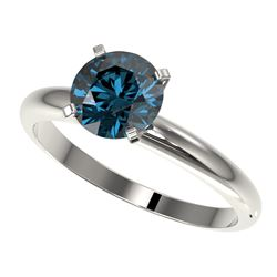 1.52 CTW Certified Intense Blue SI Diamond Solitaire Engagement Ring 10K White Gold - REF-240Y2K - 3