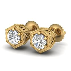 1.15 CTW VS/SI Diamond Solitaire Art Deco Stud Earrings 18K Yellow Gold - REF-174M5H - 37219