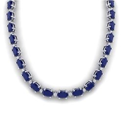 71.85 CTW Sapphire & VS/SI Certified Diamond Eternity Necklace 10K White Gold - REF-563T6M - 29517