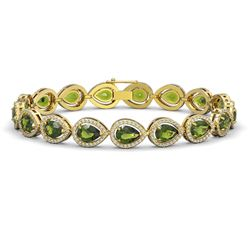 16.93 CTW Tourmaline & Diamond Halo Bracelet 10K Yellow Gold - REF-365F8N - 41113