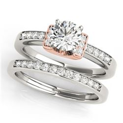 0.76 CTW Certified VS/SI Diamond Solitaire 2Pc Set 14K White & Rose Gold - REF-134X5T - 31586