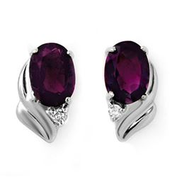 1.03 CTW Amethyst & Diamond Earrings 18K White Gold - REF-19X5T - 12859