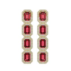 12.41 CTW Tourmaline & Diamond Halo Earrings 10K Yellow Gold - REF-217N8Y - 41446