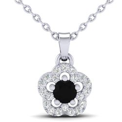 0.33 CTW Micro Pave VS/SI Diamond Necklace Moon Halo In 10K White Gold - REF-19X5T - 21342