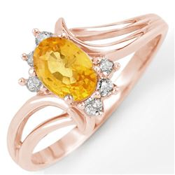 0.70 CTW Yellow Sapphire & Diamond Ring 14K Rose Gold - REF-25F3N - 10644