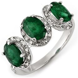 2.58 CTW Emerald & Diamond Ring 10K White Gold - REF-25W5F - 11271