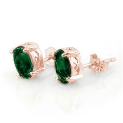 2.0 CTW Emerald Earrings 14K Rose Gold - REF-13X6T - 11310