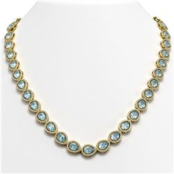 33.35 CTW Aquamarine & Diamond Halo Necklace 10K Yellow Gold - REF-738X2T - 41068