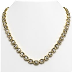 34.96 CTW Oval Diamond Designer Necklace 18K Yellow Gold - REF-6441N8Y - 42706
