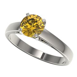 1.29 CTW Certified Intense Yellow SI Diamond Solitaire Ring 10K White Gold - REF-191M3H - 36543