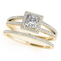 1.01 CTW Certified VS/SI Princess Diamond 2Pc Set Solitaire Halo 14K Yellow Gold - REF-148W9F - 3136