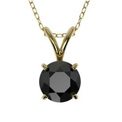 0.75 CTW Fancy Black VS Diamond Solitaire Necklace 10K Yellow Gold - REF-22M5H - 33177