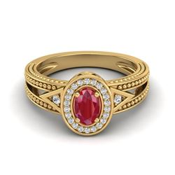 0.83 CTW Ruby & VS/SI Diamond Designer Solitaire Halo Fashion Ring 10K Yellow Gold - REF-25F8N - 208