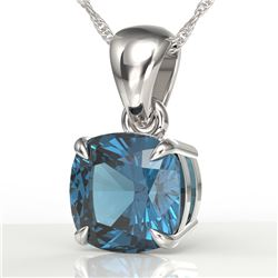 1.50 CTW Cushion Cut London Blue Topaz Designer Necklace 18K White Gold - REF-25K5W - 21949