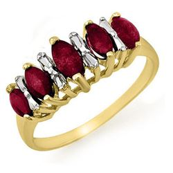 0.88 CTW Ruby Ring 10K Yellow Gold - REF-16W9F - 12675