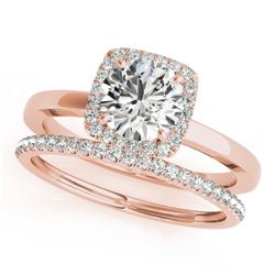 1.33 CTW Certified VS/SI Diamond 2Pc Wedding Set Solitaire Halo 14K Rose Gold - REF-377W6F - 30736