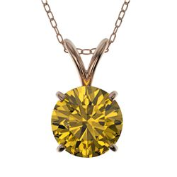 1.25 CTW Certified Intense Yellow SI Diamond Solitaire Necklace 10K Rose Gold - REF-240X2T - 33210