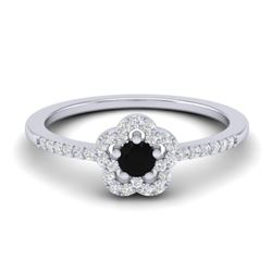 0.40 CTW Micro Pave VS/SI Diamond Ring Moon Halo In 10K White Gold - REF-22Y8K - 21409