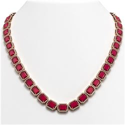 58.59 CTW Ruby & Diamond Halo Necklace 10K Rose Gold - REF-777H8A - 41334