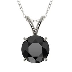 1 CTW Fancy Black VS Diamond Solitaire Necklace 10K White Gold - REF-26W3F - 33185