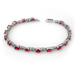 7.12 CTW Ruby & Diamond Bracelet 14K White Gold - REF-53M8H - 13953