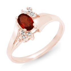 0.52 CTW Garnet & Diamond Ring 10K Rose Gold - REF-14X8T - 12368