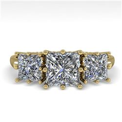 2.0 CTW Past Present Future VS/SI Princess Diamond Ring 18K Yellow Gold - REF-414X2T - 35917
