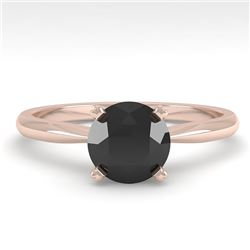 1.0 CTW Black Diamond Engagement Designer Ring 14K Rose Gold - REF-39F3N - 38454